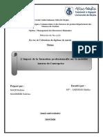 Limpact de La Formation Professionnelle Sur La Mobilité Interne de Lentreprise