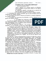 ASPECTS CULTURELS de la MALADIE MENTALE - Henri ELLENBERGER (article 1958)