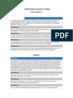 AVALIAÇÃO - 5 - DIVERSIDADE SOCIOCULTURAL