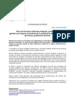 Communiqué de presse nomination Antoine Gobelet