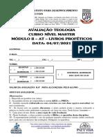 03-MASTER 2021 - MÓD II - 06 - AVALIAÇÃO AT LIVROS PROFÉTICOS -04072021
