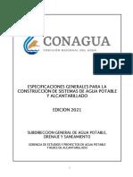 ESPECIFICACIONES GENERALES PARA LA CONSTRUCCIÓN DE SISTEMAS DE AGUA POTABLE ED. 2021