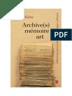 Klein 2019_Elements Pour Une Archivistique Critique
