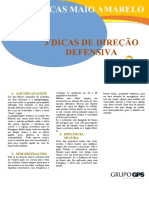 CARTAZ MAIO AMARELO USO 3 DICAS DE DIREÇÃO DEFENSIVA