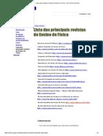 Lista Das Principais Revistas de Ensino de Física - Prof. Pedro Dorneles