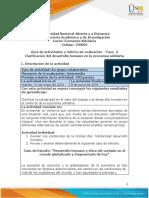 Guía de actividades y rúbrica de evaluación - Unidad 2 - Fase 3 - Clarificación del desarrollo humano en la econimía solidaria