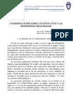 Consideraciones Sobre Los Sindicatos y Las Profesiones Organizadas - Dr. Francisco Walker Kina