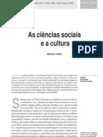 As Ciências Sociais e a Cultura - Renato Ortiz