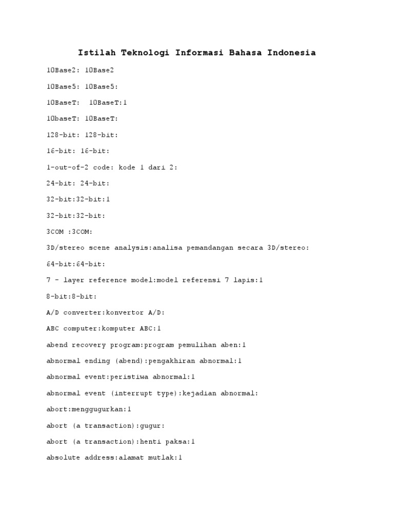 Istilah teknologi informasi bahasa indonesia ccuart Image collections