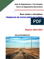 Tema 2 - Relacionamentos e analise SWOT - TCC 2021