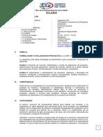 SILABOS FORMULACION Y EVALUACION DE PROYECTOS - INGENIERIA CIVIL 2020-I