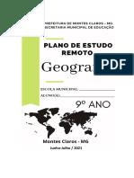 4 Plano de Estudo Remoto Geografia 9º Ano