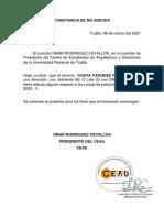 CONSTANCIA DE NO ADEUDO- CEAU