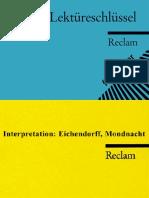 Eichendorff, Joseph Von. Mondnacht German-Philipp Reclam (2003)
