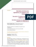 Higuita López-Mandatos del discurso capitalista y la sujeción a los trabajadores