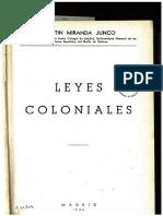 MIRANDA JUNCO. Leyes Coloniales Legislación de Los Territorios Españoles Del Golfo de Guinea