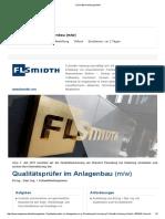 Qualitätsprüfer im Anlagenbau (m_w) - Job bei FLSmidth Hamburg GmbH in Pinneberg bei Hamburg
