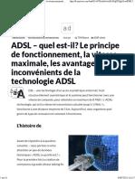 ADSL - Quel Est-il Le Principe de Fonctionnement, La Vitesse Maximale, Les Avantages Et Les Inconvénients de La Technologie ADSL
