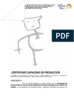 Certificado de Capacidad de Produccion