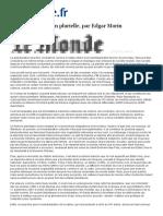 MORIN, Edgar (2002 ) Por Uma Globalização Plural (Em Francês) Especial Para o Le Monde - 25 Mar.