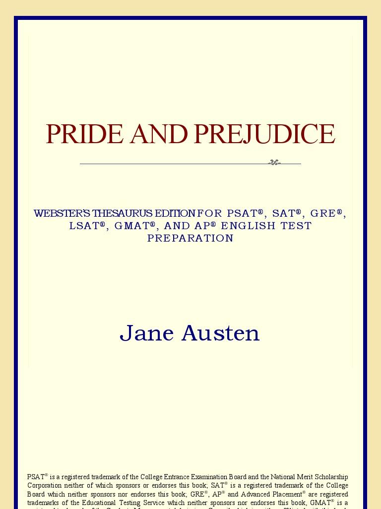 Websters Thesaurus Edition Pride And Prejudice Pride And Prejudice