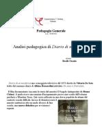 Analisi pedagogica di ''Diario Di Un Maestro'' - Fondamenti di Pedagogia Generale