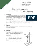 Report No 3 quantitative analysis a hydrate