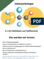 Von Molekülen zum Stoffwechsel