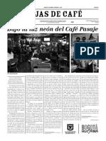 Hojas de Cafe No. 5. Bajo La Luz Neon Del Cafe Pasaje