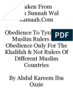 Obedience to Tyrannical Muslim Rulers & is Obedience Only for the Khalifah & Not Rulers of Different Muslim Countries