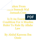 Is It an Essential Condition for a Muslim Ruler to Rule by Allahs Law