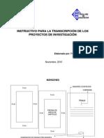 Instructivo para la Transcuipcion de Proyectos de Inv