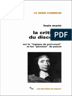 Louis Marin - La Critique du discours_ Sur la Logique de Port-Royal et les Pensées de Pascal (2018, Minuit) - libgen.lc