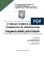 Cronograma y Plan de Evaluación Fundamentos de Administración