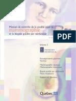 Manuel de Contrôle de La Qualité Pour La Mammographie