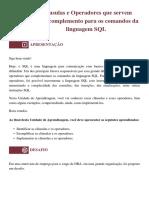 UNID 4.3 -Cláusulas e Operadores que servem como complemento para os comandos da linguagem SQL