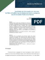 Percepção da qualidade da informação em recursos da Web utilizados nas atividades de ensino e pesquisa da Universidade Federal do Paraná