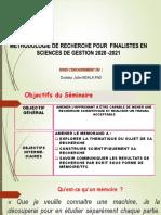 Methodologie de Recherche en Gestion 2021