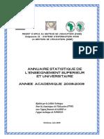 ANNUAIRE STATISTIQUE DE L ENSEIGNEMENT SUPERIEUR ET UNIVERSITAIRE