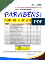 9ª B - RESULTADO 1º SIMULADO SISTEMÁTICA SAS -  TOP 10 - JUNHO 2021