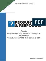 Perguntas e Respostas Sobre BPF, ANVISA, 07-06-2019. Segunda Versão