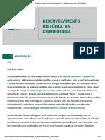 5.3 - DESENVOLVIMENTO HISTÓRICO DA CRIMINOLOGIA