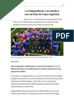 Tigre eliminó a Independiente y se clasificó para los octavos de final de Copa Argentina - Modo de lectura
