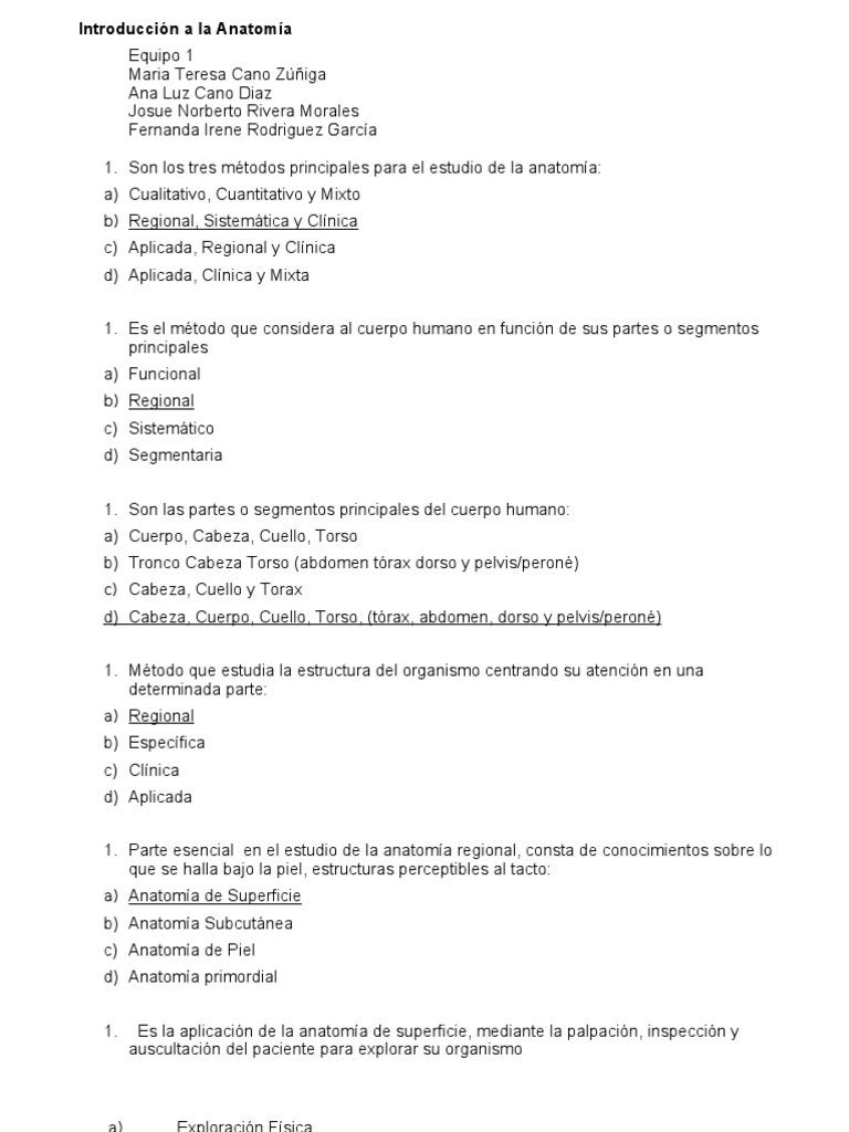 Equipo 1 - cuestionario Introduccion a la Anatomia con respuestas