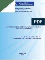 Contribuições Das Línguas Africanas Para o PB