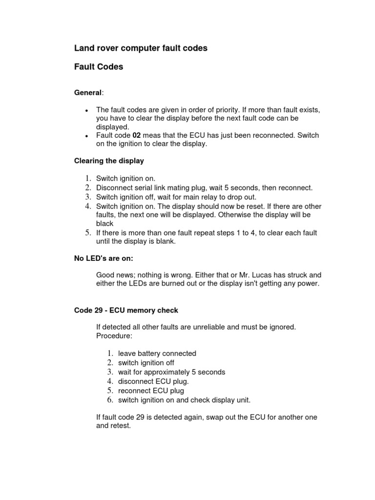 Land Rover Fault Codes