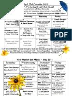 April & May Deli menus 2011