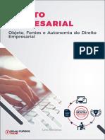 1- Obejto, Fontes e Autonomia do Direito Empresarial