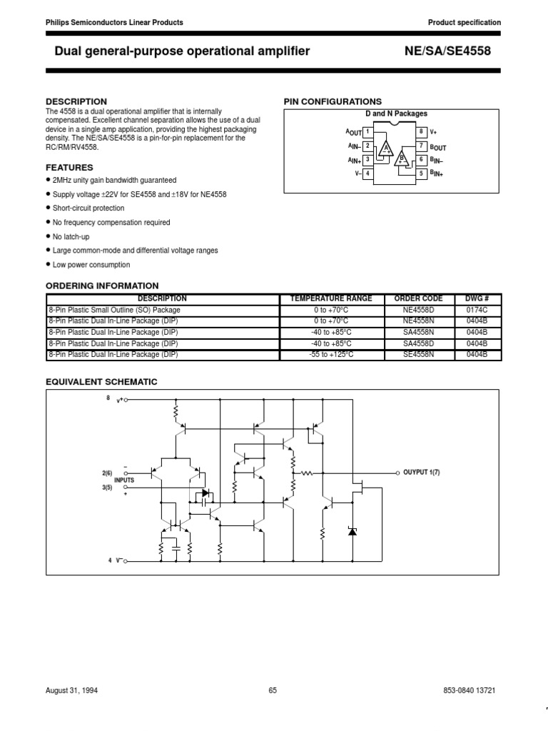 4558 Amplifier Operational Tl082 Dual Schematic
