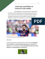 Barcelona anunció que Lionel Messi no seguirá su carrera en el club catalán - Modo de lectura